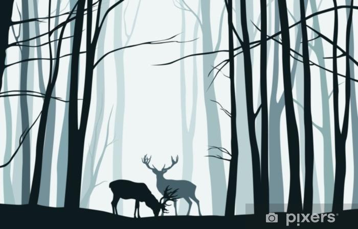 Adesivo per Laptop Paesaggio della foresta con sagome blu di alberi e cervi - illustrazione vettoriale - Panorami