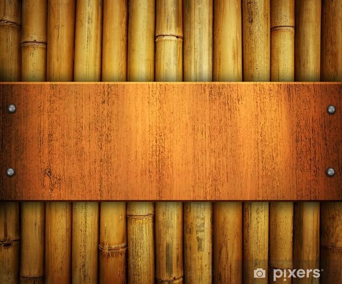 Aufkleber Holzplatte Auf Bambus Hintergrund Pixers Wir Leben
