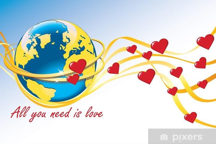 Aufkleber Planet Earth Mit Hochzeitsringen Und Herzen Pixers