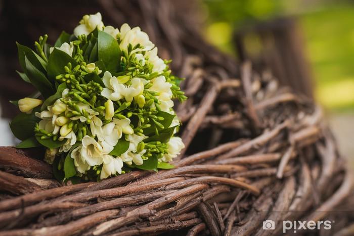 Aufkleber Schonen Hochzeitsstrauss Auf Dem Alten Holz Textur Pixers