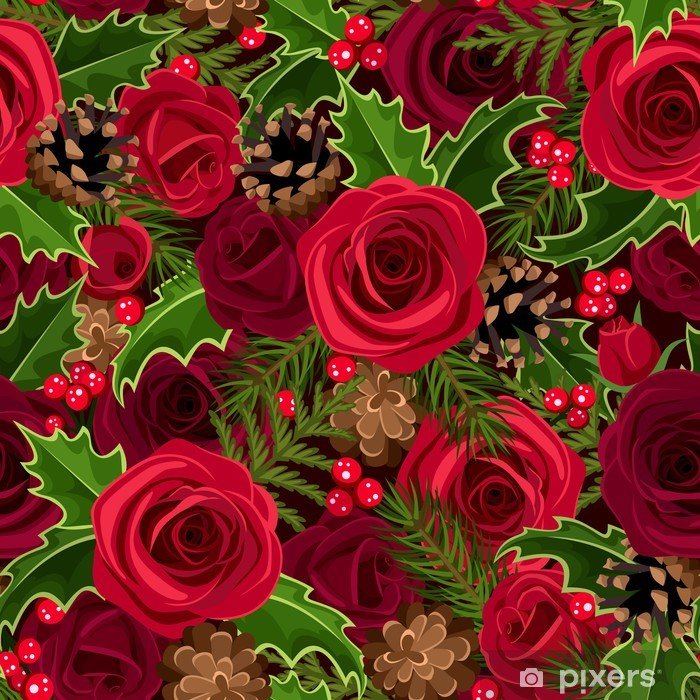 Aufkleber Weihnachten nahtlose Hintergrund mit Rosen und Stechpalme ...