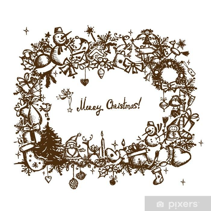Aufkleber Weihnachten Rahmen, Skizze, Zeichnung für Ihre ...