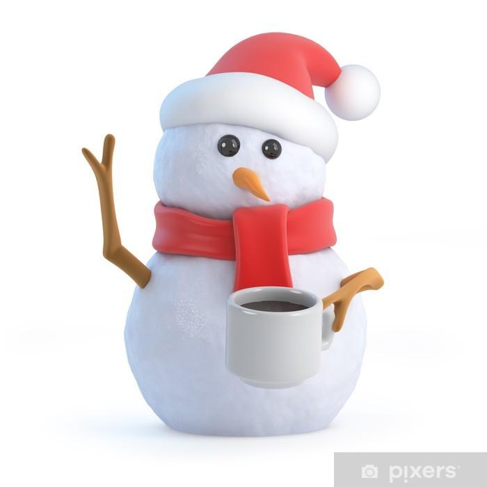 Aufkleber Weihnachtsschneemann im Café trinken • Pixers® - Wir leben ...