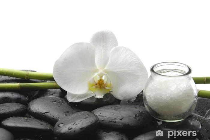 Aufkleber Weisse Orchidee Salz Im Glas Und Bambus Handschuh Auf