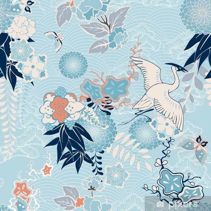 Pixerstick Dekor Kimono bakgrund med kran och blommor - Stilar