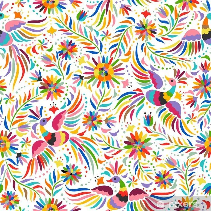 Pixerstick Dekor Mexikanska broderi seamless. Färgstarka och utsmyckade etniska mönster. Fåglar och blommor ljus bakgrund. Blommig bakgrund med ljusa etnisk prydnad. - Grafiska resurser