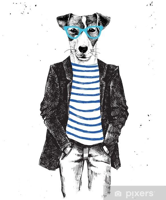 Dolap Çıkartması El hipster tarzı köpek giyinmiş çizilir - Hayvanlar
