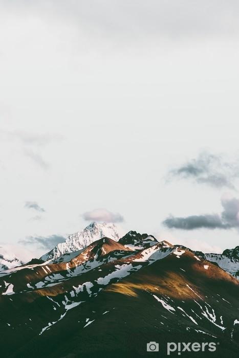 Vinil Duvar Resmi Gün batımı dağlar manzara seyahat sakin sahne havadan görünümü - Manzaralar