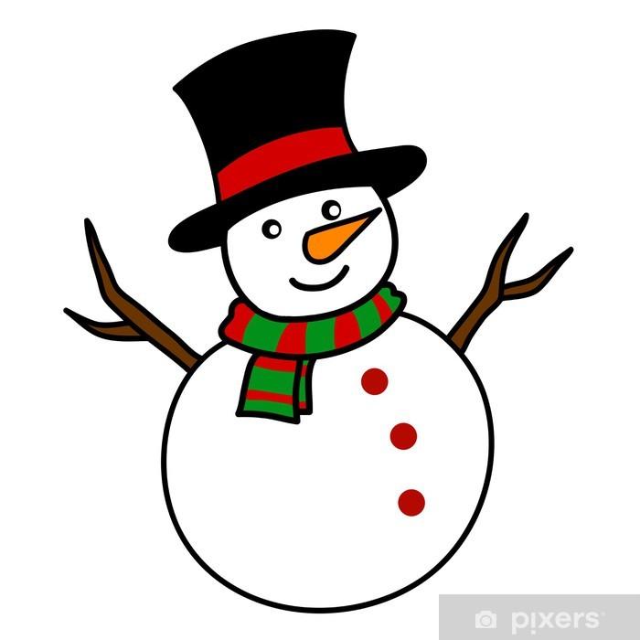 Fensteraufkleber Weihnachten Schneemann Karikatur. • Pixers® - Wir ...