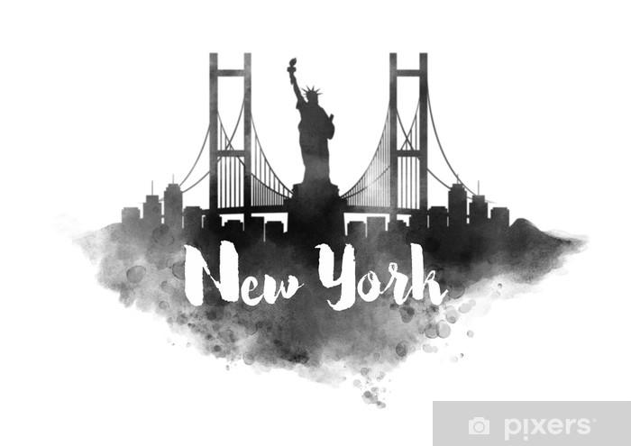 Fotomural Acuarela horizonte de la ciudad de nueva york • Pixers ...
