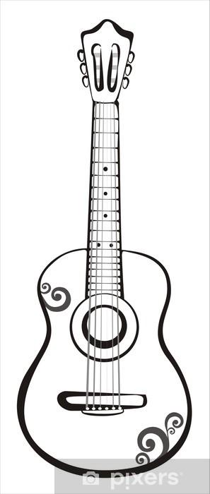 Fotomural Bosquejo de la guitarra en líneas negras • Pixers ...