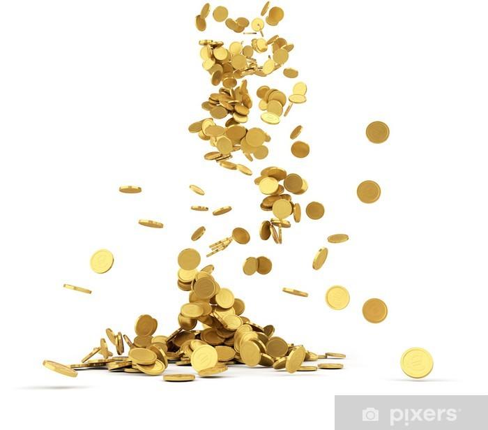 Fotomural Caída de las monedas de oro aisladas • Pixers® - Vivimos ...