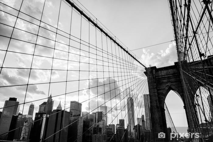Fotomural Ciudad de Nueva York, Puente de Brooklyn horizonte blanco ...