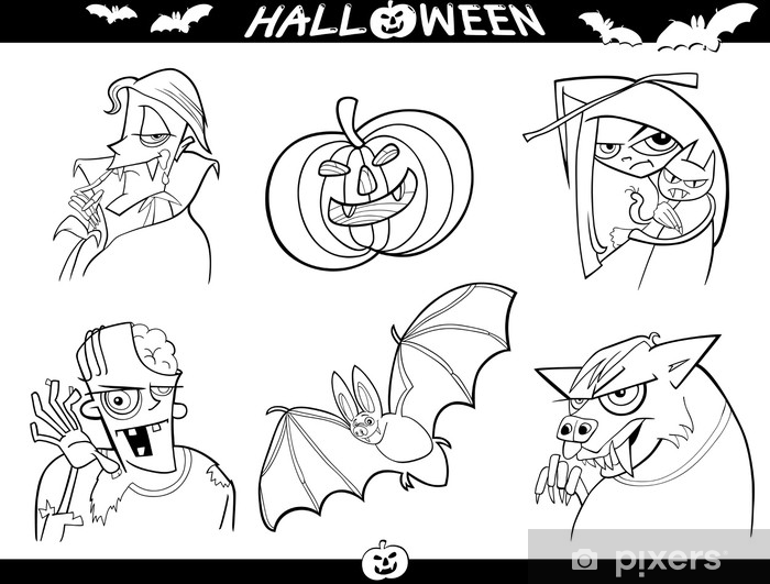 Fotomural Dibujos animados de Halloween Temas para colorear • Pixers ...