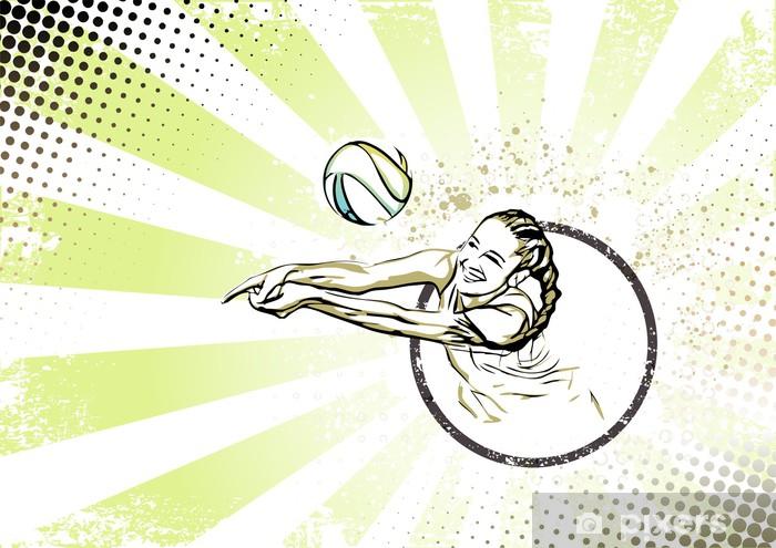 Fotomural Playa retro fondo del cartel de voleibol • Pixers ...