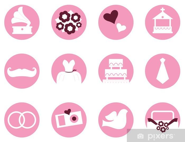 Fototapete Hochzeit Symbole Im Retro Stil Auf Weiss Pink Isoliert