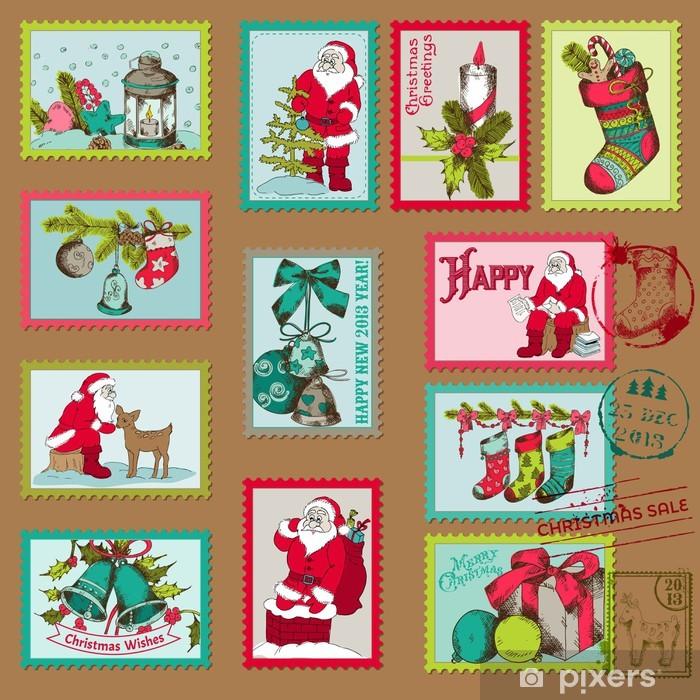 Fototapete Weihnachten Briefmarken - für Design, Scrapbook - in ...
