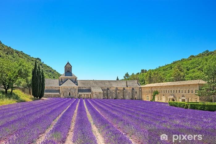 Fototapet av Vinyl Klostret Senanque blommande lavendelblommor. Gordes, Luberon, Pr - Teman