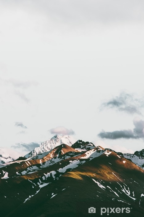 Fototapet av vinyl Solnedgang fjell landskap reise rolig natur antenne utsikt - Lanskap