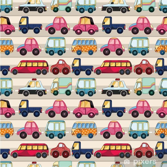 Sømløs tegneserie bil mønster. Vinyl fototapet -