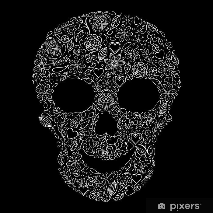 Vinylová fototapeta Abstraktní květinové lebka - Vinylová fototapeta