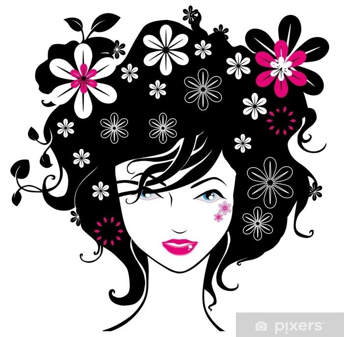 Vinylová fototapeta Abstraktní ženy ilustrace vektor černý růžový květ - Vinylová fototapeta