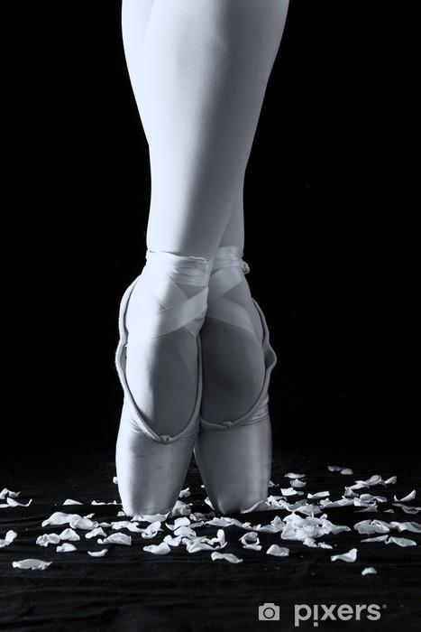 a6b4fe2d137 Vinylová fototapeta Baletní tanečník stojí na špičkách na okvětní lístky  růží s černou zázemí