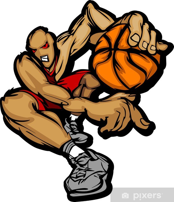 Vinylová fototapeta Basketball Player Cartoon Dribbling Basketbal - Vinylová fototapeta