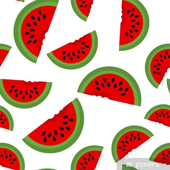 Vinylová fototapeta Bezproblémové pozadí s plátky melounu. vektorové ilustrace. design pro blahopřání a pozvánku na sezónní letní dovolenou - Vinylová fototapeta