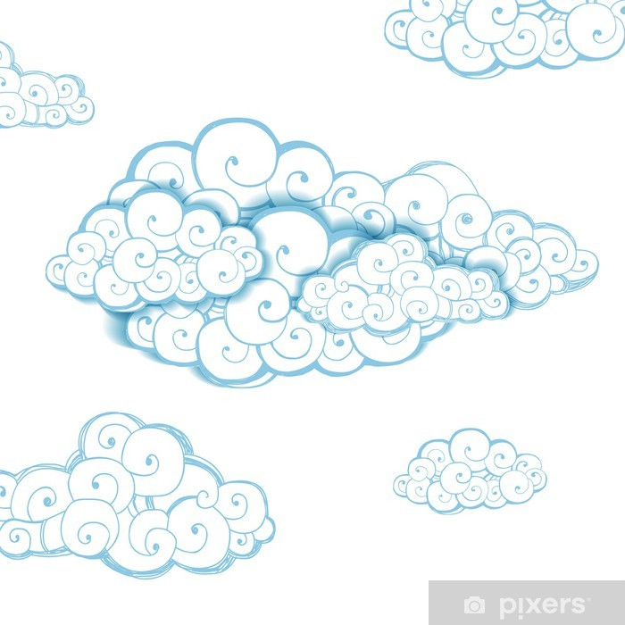 Vinylová fototapeta Dekorativní pozadí s mraky. Skica - Vinylová fototapeta