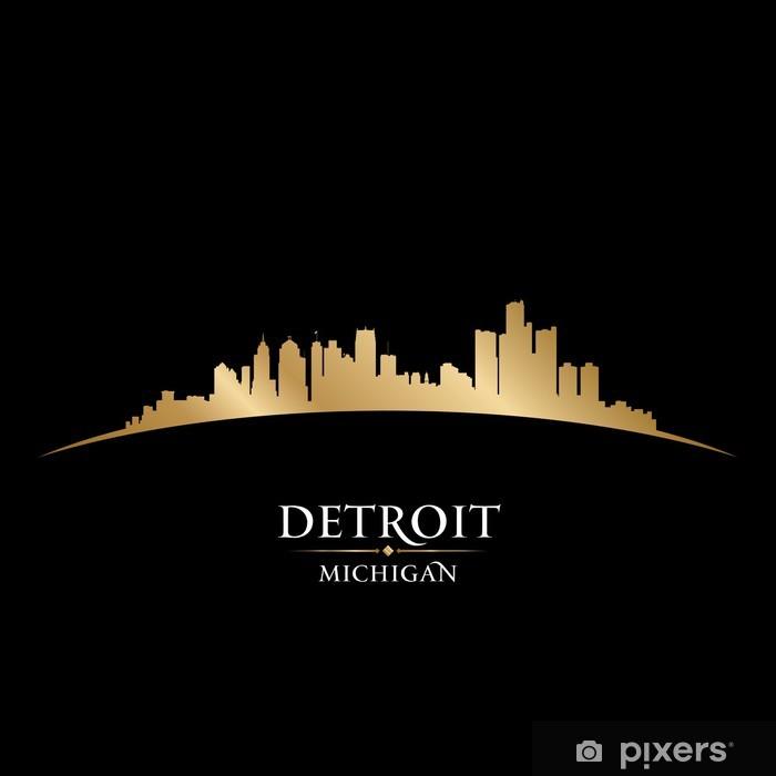 Vinylová fototapeta Detroit Michigan panorama města silueta černé pozadí - Vinylová fototapeta