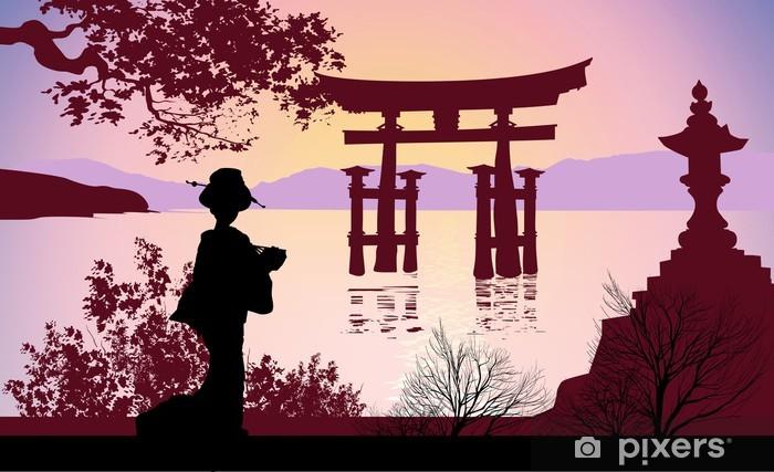 Vinylová fototapeta Geisha and Mount Fuji - Vinylová fototapeta