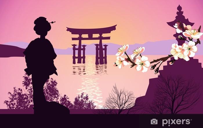 Vinylová fototapeta Geisha hory v pozadí a japonské brány - Vinylová fototapeta