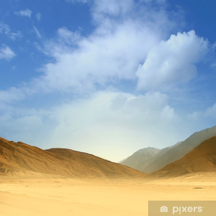 Vinylová fototapeta Krásný obraz písku pouště na modrém pozadí oblohy - Vinylová fototapeta