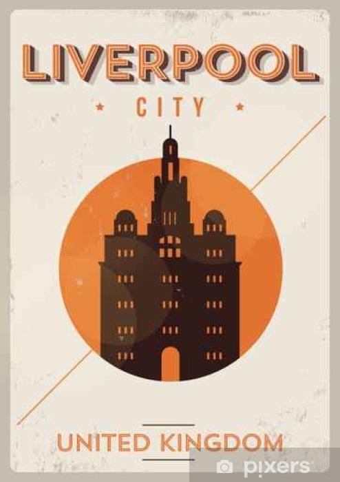 Vinylová fototapeta Liverpool City Vintage Poster design - Vinylová fototapeta