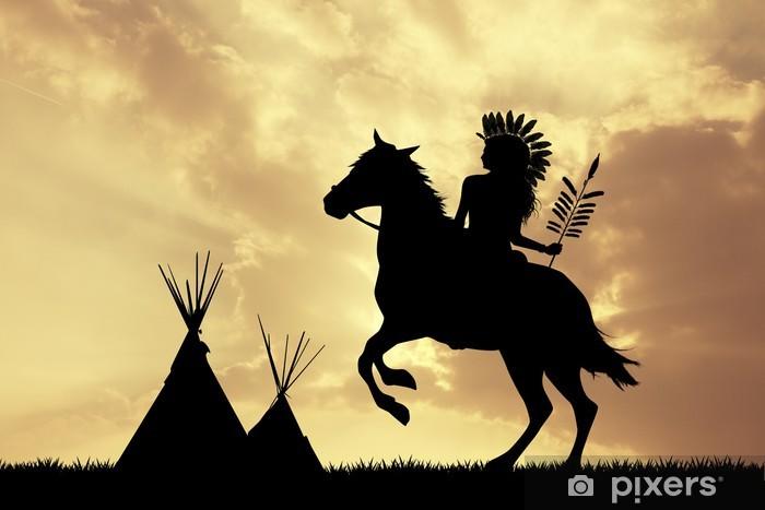 Vinylová fototapeta Native American Indian on horseback at sunset - Vinylová fototapeta