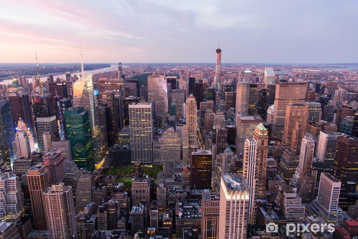 Vinylová fototapeta New York City Manhattan při západu slunce - Vinylová fototapeta
