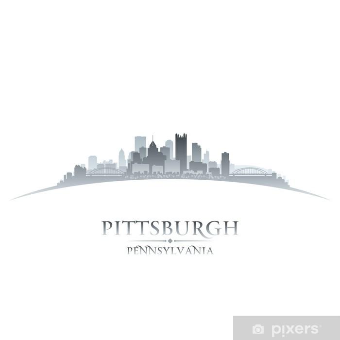 Vinylová fototapeta Pittsburgh Pennsylvania panorama města silueta bílém pozadí - Vinylová fototapeta