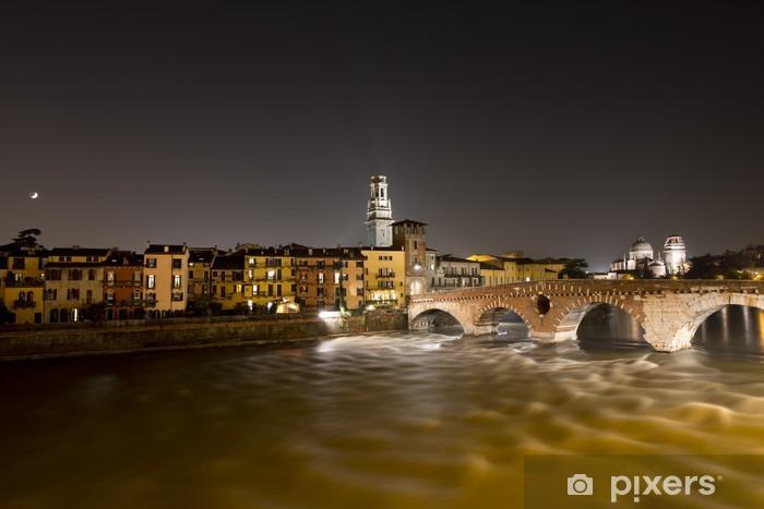 Vinylová fototapeta Ponte Pietra v noci - Verona Itálie - 1. století před naším letopočtem - Vinylová fototapeta