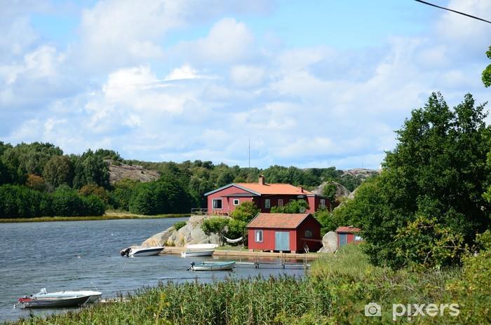 Vinylová fototapeta Red Domy u moře (Švédsko) - Vinylová fototapeta