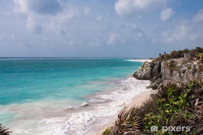 Vinylová fototapeta Ruiny Tulum a bílé pláži v Mexiku - Vinylová fototapeta