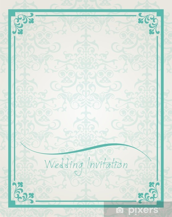 Vinylová fototapeta Svatební oznámení design, paisley květinovým vzorem, Indie - Vinylová fototapeta