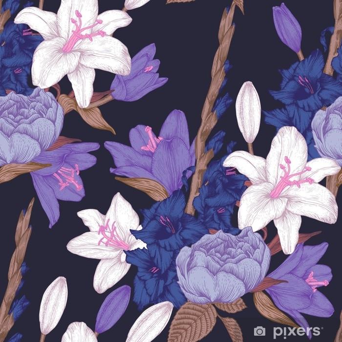 Fototapeta winylowa Wektor kwiatowy wzór z ręcznie rysowane mieczyk kwiaty, lilie i róże w stylu vintage - Rośliny i kwiaty