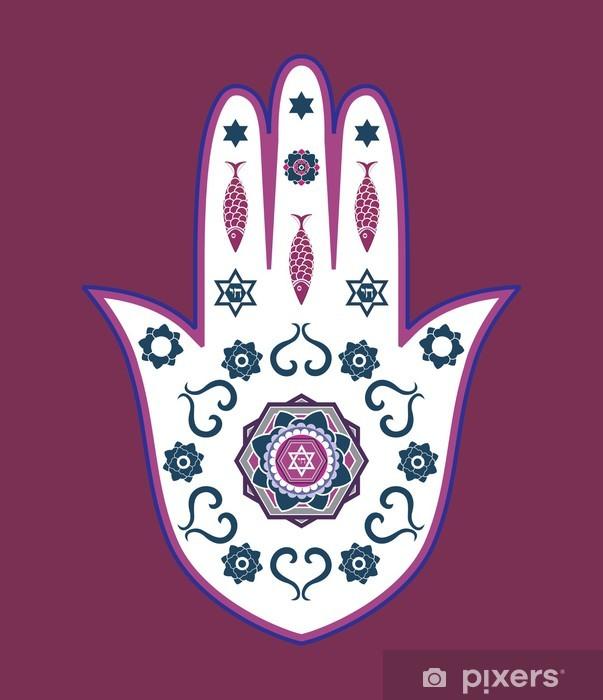 Vinylová fototapeta Židovská hamsa ručně amulet - nebo Miriam ruky, vektorové ilustrace - Vinylová fototapeta