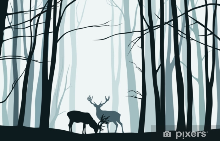 Forest landscape with blue silhouettes of trees and deers - vector illustration Laptop Sticker - Landscapes