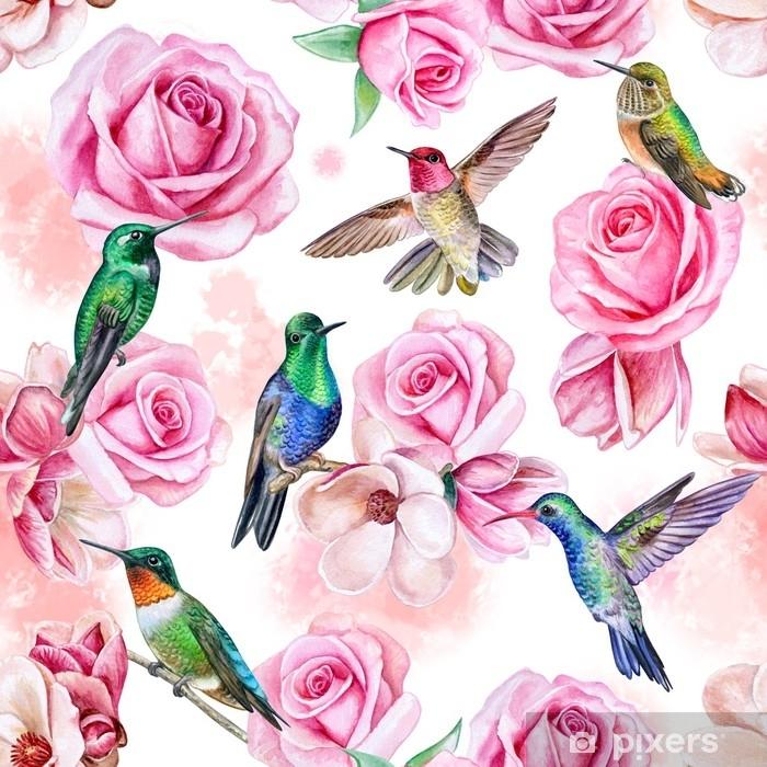 Naklejka Na Szafę Róże Magnolie Ptaki Kolibra Bezszwowa Tapeta Z