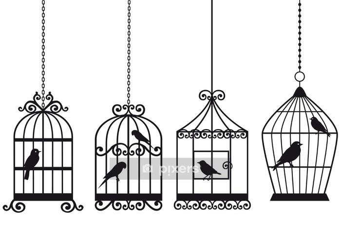 Nálepka na stěny Vintage klece s ptáky - Styly