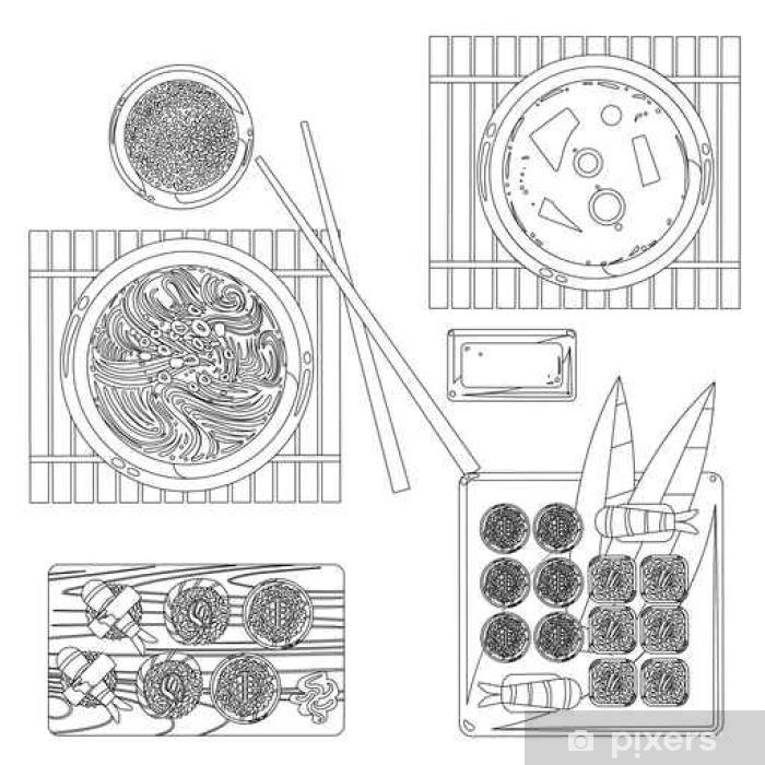 Papier Peint Japonaise Vecteur Alimentaire Dessin De Contour En Noir