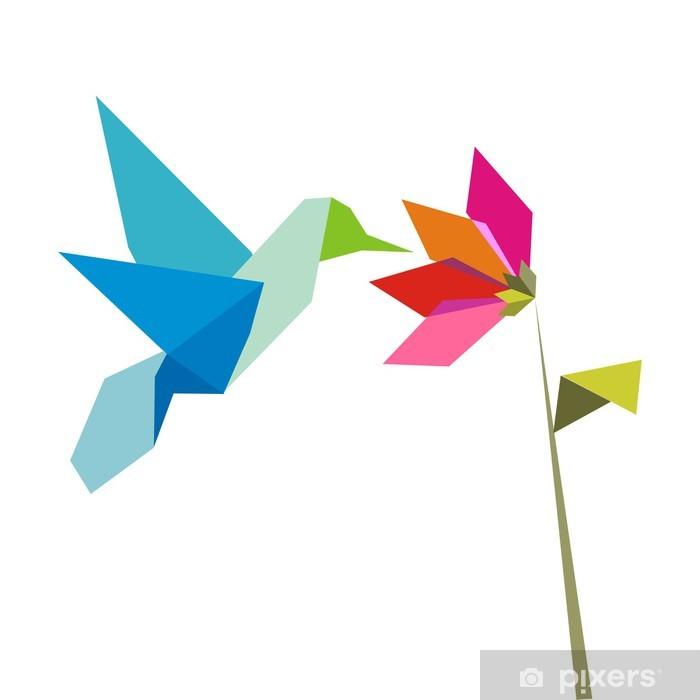 Papier Peint Origami Colibri Et Fleur Sur Fond Blanc Pixers