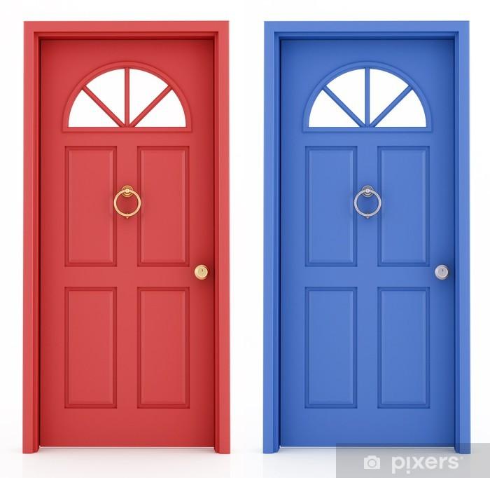 Papier Peint Porte D Entree Rouge Et Bleu Pixers Nous Vivons